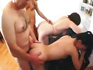 Unleashed foursome family sex show from dad, mom and their kinky offspring