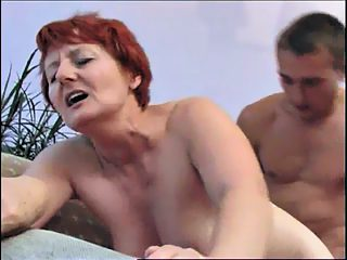 Juicy old redhead gets a real hard doggy style treatment from her son