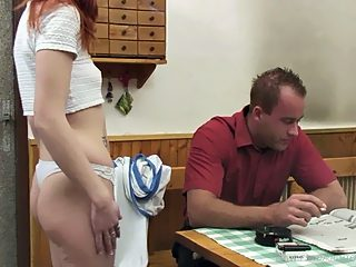 Teenage gingerhead and her loving father enjoying taboo incest pleasures