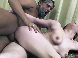 Swarthy old guy steals his cute vanilla skinned daughter's anal virginity