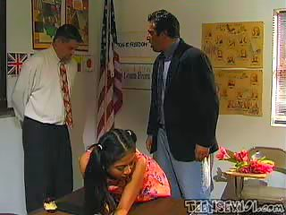 Asian teen gets DP'd by her teacher and the principal