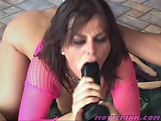 Babe taking large dildos then gets double fucked